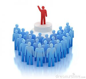 orateur rouge et public bleu